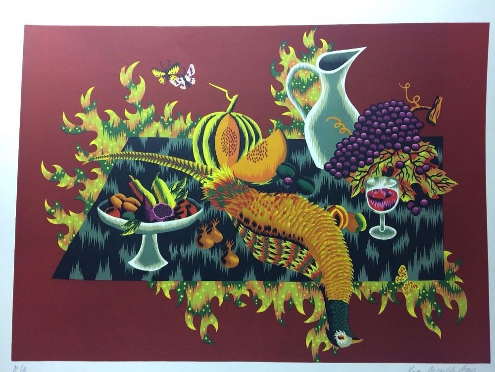 Litografia Picard Ledoux - Nature morte au faisan