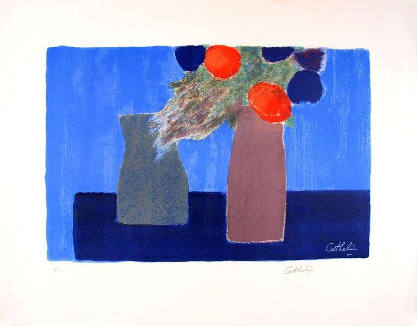 Litografia Cathelin - Nature morte au fond bleu - Still Life on a blue background