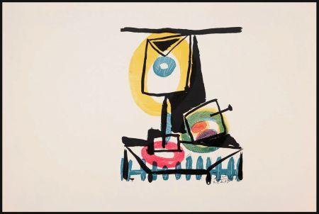 Incisione Picasso - NATURE MORTE AU VERRE ET À LA POMME (Le grand verre). Pointe sèche et burin (1944)