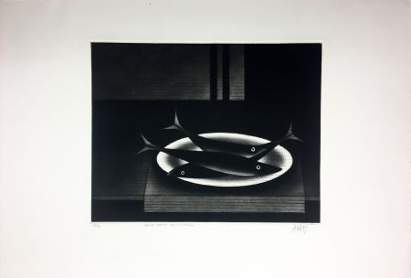 Maniera Nera Avati - Nature morte aux 3 poissons (1961)