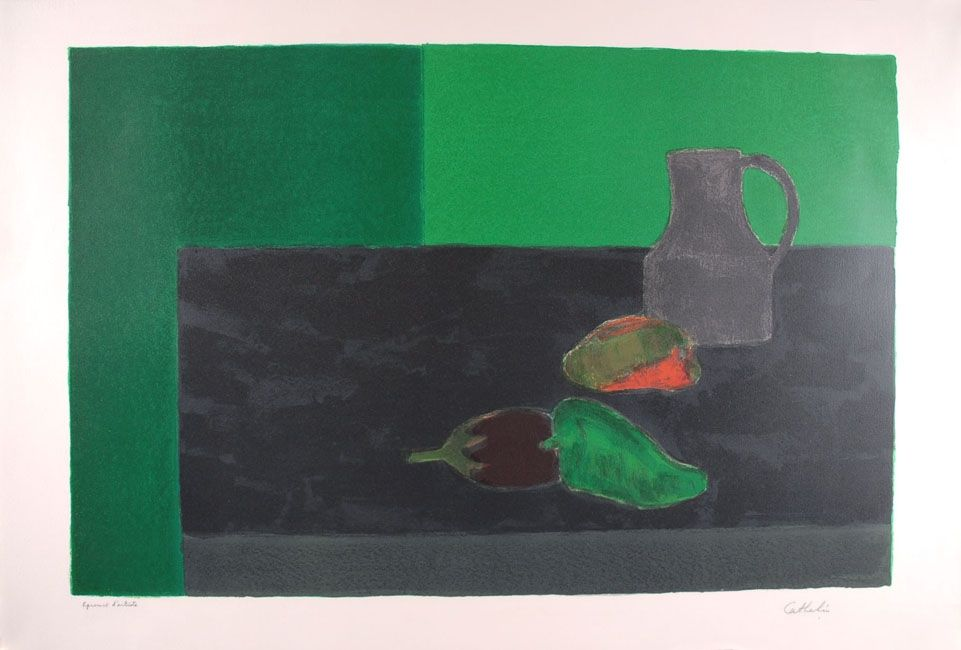 Litografia Cathelin - Nature morte noire et verte aux poivrons - Still Life in black and green with peppers
