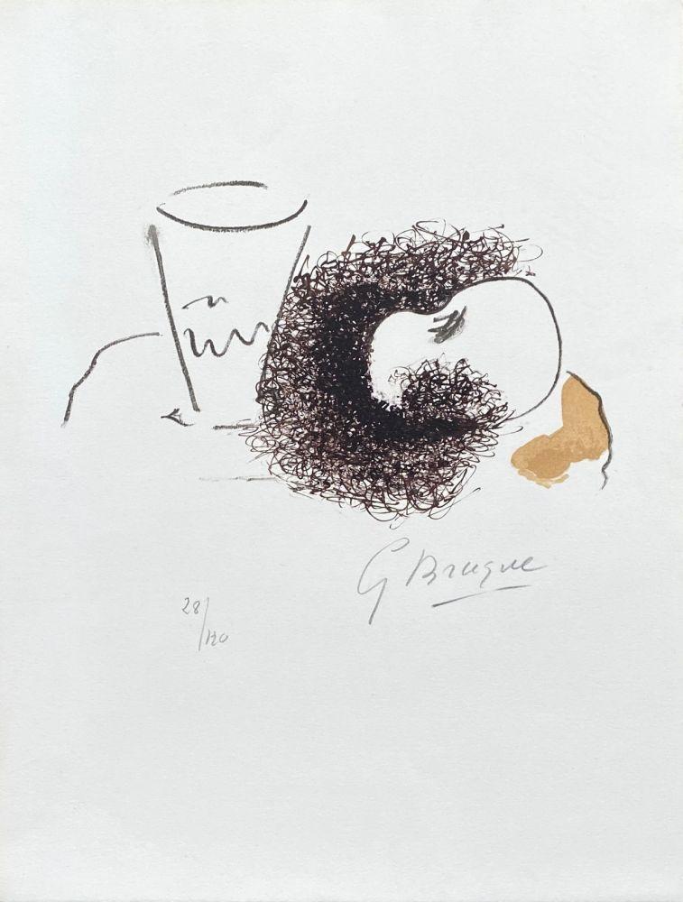 Litografia Braque - Nature morte verre et pomme