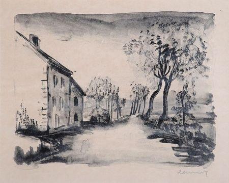 Litografia Vlaminck - Nelle-la-Vallée, le Chemin aux Bords du Sausseron