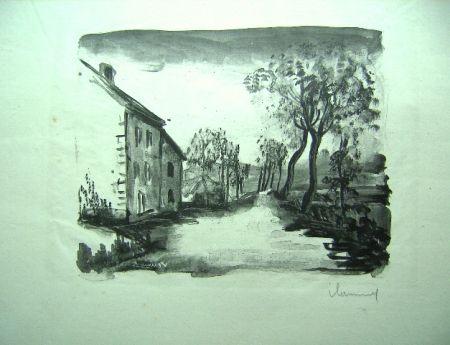 Litografia Vlaminck - Nelle-la-Vallee, le chemin aux Bords de Sausseron