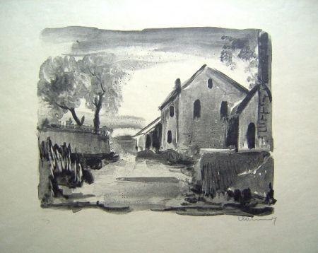 Litografia Vlaminck - Nelle-la-Vallee. Maisons rustiques