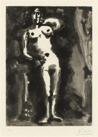 Acquatinta Picasso - Nu accudé, from Sable Mouvant