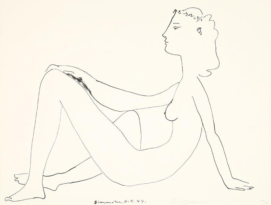 Litografia Picasso - Nu assis, de profil