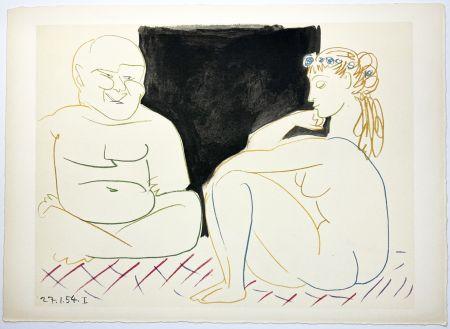 Litografia Picasso - Nu assis et Bouddha (La Comédie Humaine - Verve 29-30. 1954).