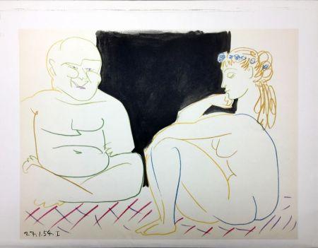 Litografia Picasso - Nu assis et Bouddha (La Comédie Humaine - Verve 29-30. Vallauris 1954)
