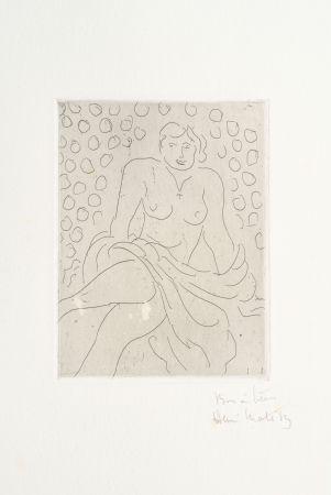 Incisione Matisse - Nu drapé sur fond composé de cercles