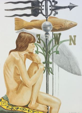 Litografia Pearlstein - NUDE MODEL WITH BANNER AND FISH WEATHERVANE