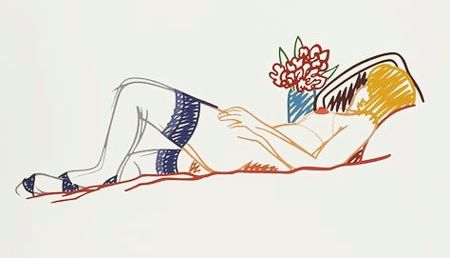 Serigrafia Wesselmann - Nude with Bouquet and Stockings