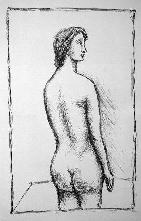 Litografia Carra - Nudo di schiena