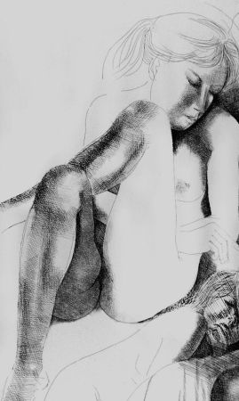 Acquaforte Greco - Nudo seduto