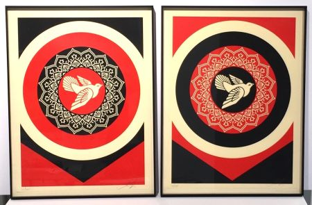 Serigrafia Fairey - Obey Dove Red & Black Set