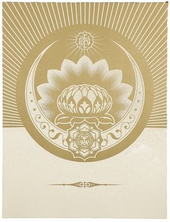 Serigrafia Fairey - Obey Lotus Crescent (White / Gold)