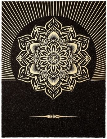 Serigrafia Fairey - Obey Lotus Diamond (Black / Gold)
