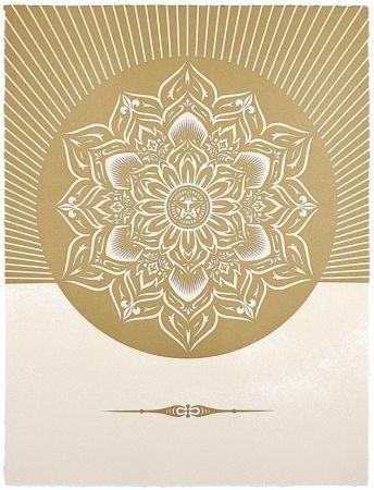 Serigrafia Fairey - Obey Lotus Diamond (White / Gold)