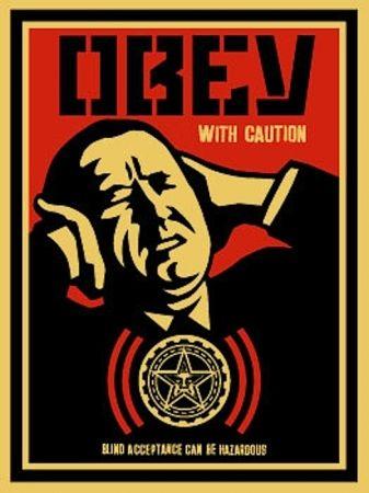 Serigrafia Fairey - Obey with Caution