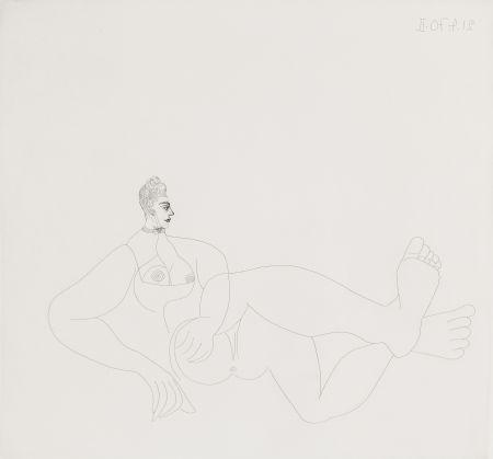 Acquaforte Picasso - Odalisque au collier de chien