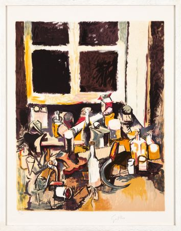 Litografia Guttuso - Oggetti sul tavolo e finestra di sera