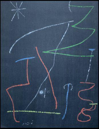 Pochoir Miró - Oiseau dans la nuit