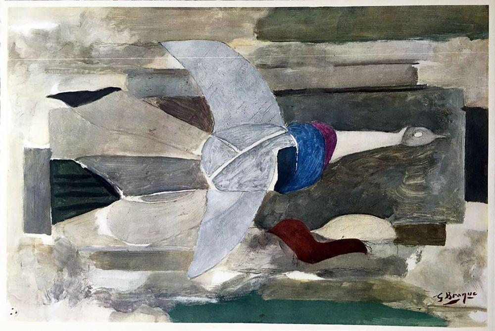 Rotocalcografia Braque - Oiseau en vol (1953)