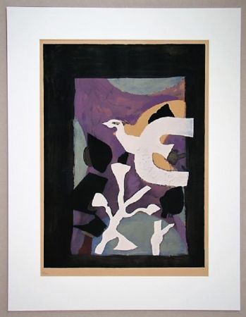 Litografia Braque - Oiseau Et Lotus