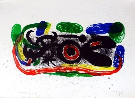 Litografia Miró - Oiseau Mangeant Du Feu