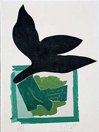 Incisione Su Legno Braque - Oiseau noir sur fond vert