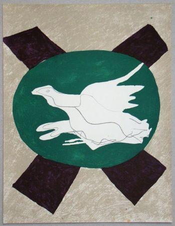 Litografia Braque - Oiseau sur fond de X
