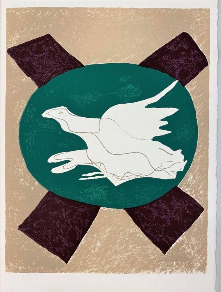 Litografia Braque - Oiseau sur fond X
