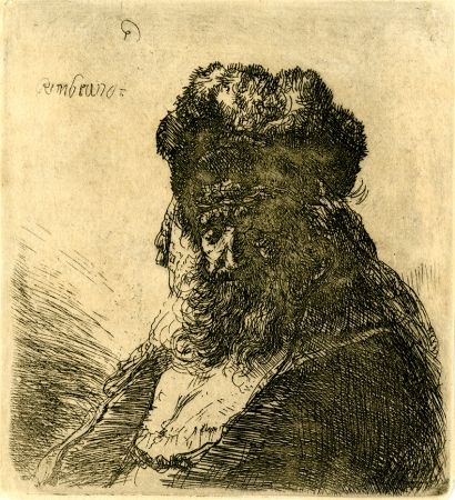 Incisione Rembrandt - 	Old Bearded Man in a High Fur Cap, with Eyes Closed, c. 1635