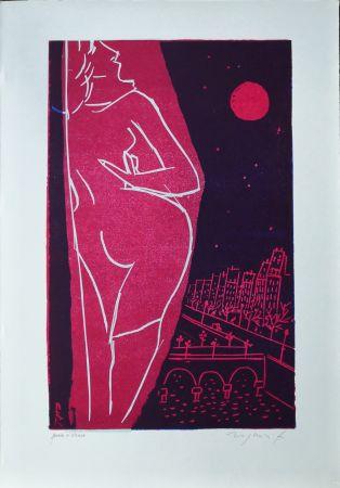 Linoincisione Rognoni - Omaggio a Edith Piaf