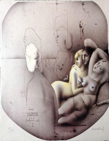 Litografia Wunderlich - Omaggio a Ingres