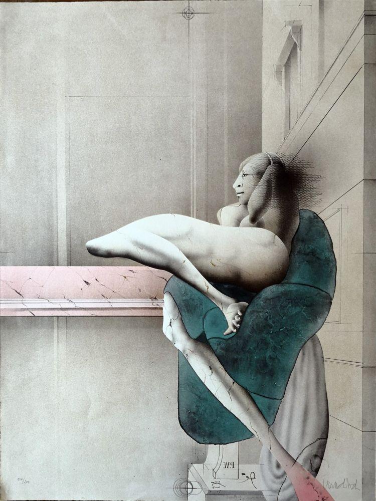 Litografia Wunderlich - Omaggio a Michelangelo