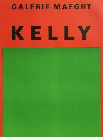 Litografia Kelly - ORANGE ET VERT. Afiiche lithographie originale (1964).