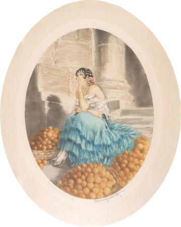 Acquaforte Icart - Orange seller - Marchande d'oranges