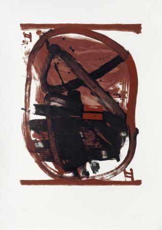 Litografia Tàpies - Ovale rouge et noir