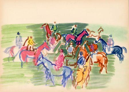 Pochoir Dufy - PADDOCK (1930) de l'album : Douze Contemporains par J. Lassaigne (1959)