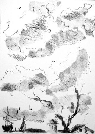 Litografia De Pisis - Paese antico