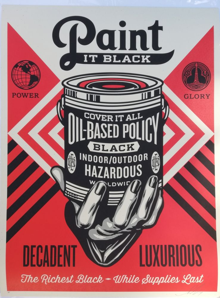 Serigrafia Fairey - Paint it black decadent luxurious