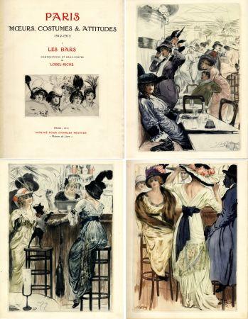 Libro Illustrato Lobel-Riche - PARIS. MŒURS, COSTUMES ET ATTITUDES, 1912-1913. LES BARS (M. Guillemot).