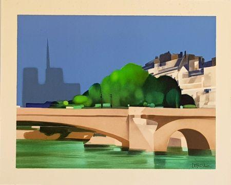 Litografia Defossez - Paris  Pont de la Tournelle