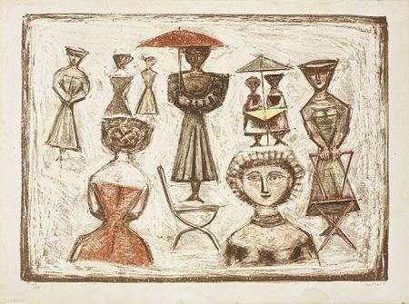 Litografia Campigli - Passeggiata Romana