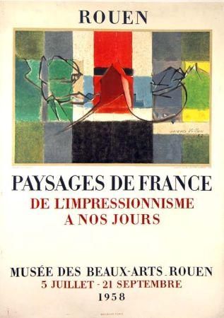 Litografia Villon -  Paysage de France  Rouen