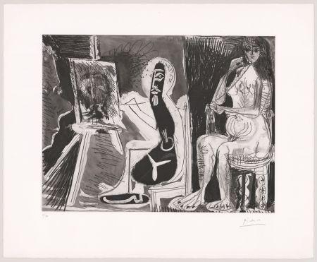 Acquaforte E Acquatinta Picasso - Peintre avec le portrait d'un jeune garçon, dans son atelier.