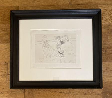 Incisione Picasso - Peintre Chauve devant son Chevalet