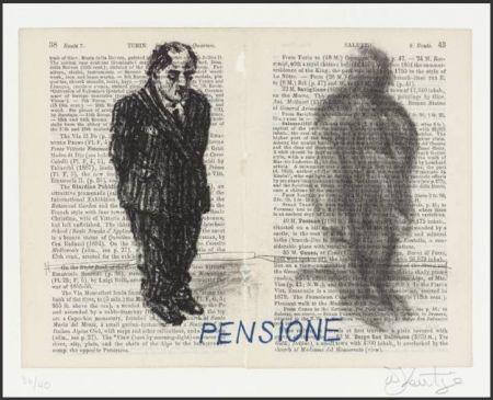 Litografia Kentridge - Pensione from Untitled Baedecker portfolio