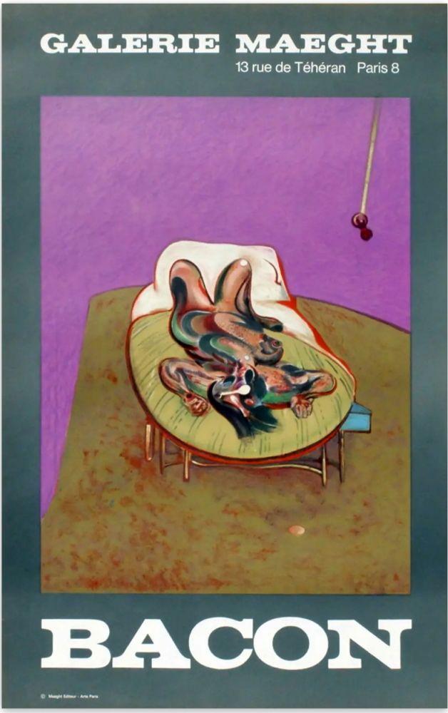 Litografia Bacon - PERSONNAGE COUCHÉ. Affiche en lithographie (1966).